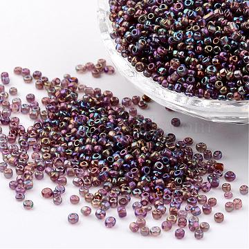 Round Trans. Colors Rainbow Glass Seed Beads, Misty Rose,  Size: about 2mm in diameter, hole:1mm; about 3306pcs/50g(X-SEED-A007-2mm-176)