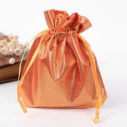 Sacs en tissu rectangle, avec cordon de serrage, orange foncé, 12x9 cm(X-ABAG-R007-12x10-07)