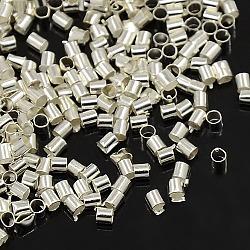2 tube de laiton mm perles à écraser, couleur argentée, accessoire de mode bijoux bricolage, environ 2 mm de large, Longueur 2mm, Trou: 1.5mm, environ 900 pcs/10 g