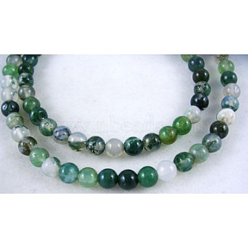 4mm Green Round Moss Agate Beads