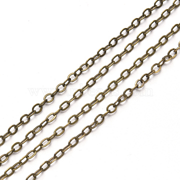 Brass Cable Chains, Soldered, Flat Oval, Antique Bronze, 2.6x2x0.3mm, Fit for 0.7x4mm Jump Rings(X-CHC-T008-06B-AB)