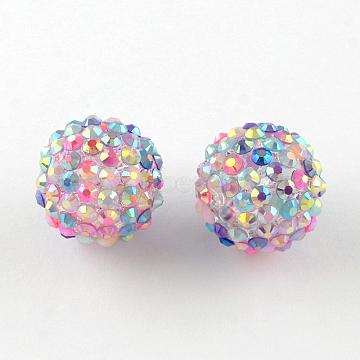 18mm Colorful Round Resin+Rhinestone Beads
