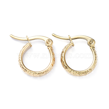 201 Stainless Steel Hoop Earrings, with 304 Stainless Steel Pins, Dapped Ring Shape, Golden, 15.5x13.5x3.5mm, Pin: 1x0.7mm(X-EJEW-I245-08G)