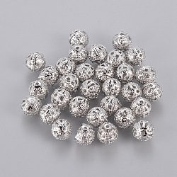 Platinum Color Hot DIY Round Filigree Brass Beads, Filigree Ball, 6mm, hole: about 0.6mm(X-EC120)
