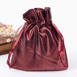 Sacs en tissu rectangle, avec cordon de serrage, DarkRed, 12x9 cm(X-ABAG-R007-12x10-03)