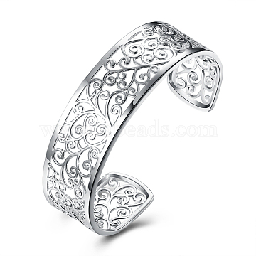 Brass Cuff Bangles, Filigree Leaf, Silver Color Plated, 64mm(2-1/2 inches)(BJEW-BB18055)
