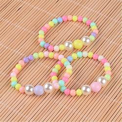 Round Opaque Acrylic Beaded Stretch Kids Bracelets, with Imitation Pearl Acrylic Beads, Mixed Color, 46mm(BJEW-JB02306)
