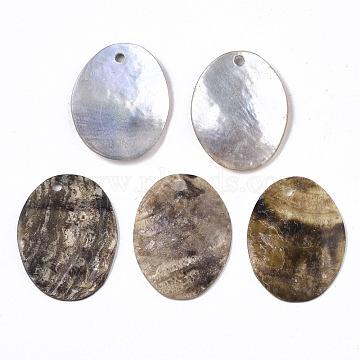 Natural Akoya Shell Pendants, Mother of Pearl Shell Pendants, Oval, Camel, 20x15x2mm, Hole: 1.2~1.5mm(SHEL-N026-59)