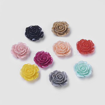 Mixed Color Flat Back Flower Resin Cabochons, 14x6mm(X-RESI-I011-M)