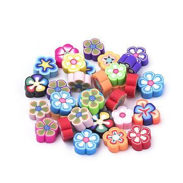 Handmade Polymer Clay Cabochons, Flower, Mixed Color, 8~12x8~12x4mm; 100pcs/bag(CLAY-Q244-07)