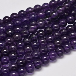 Round Grade A Natural Amethyst Bead Strands, 6mm, Hole: 1mm; about 61pcs/strand, 15.5inches