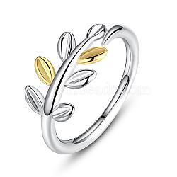 feuille 925 anneaux de doigt en argent sterling, platine et d'or, 18 mm (taille 8)(RJEW-FF0003-08-18mm)