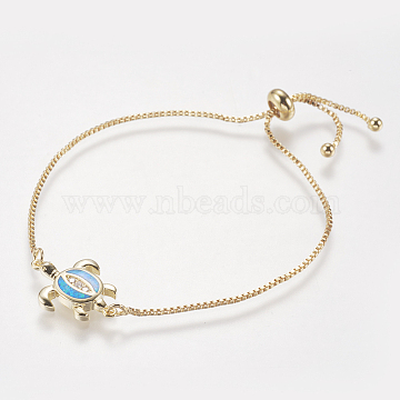 Adjustable Brass Bolo Bracelets, Slider Bracelets, with Synthetic Opal and Cubic Zirconia, Box chains, Sea Turtle, Blue, 9.1inches(23cm)~10inches(25.5cm); 1mm(BJEW-I240-01G-02)
