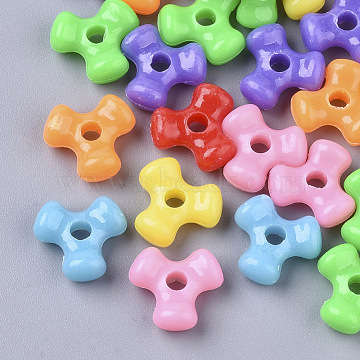 Opaque Acrylic Beads, Tri Bead Spacers, Triangle, Mixed Color, 11x10x4.5mm, Hole: 2mm(X-MACR-N008-10)