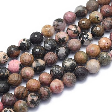 Natural Rhodonite Beads Strands, Round, Faceted(128 Facets), 10mm, Hole: 1.2mm; about 38pcs/strand, 15.55 inches(39.5cm)(G-K310-A12-10mm)