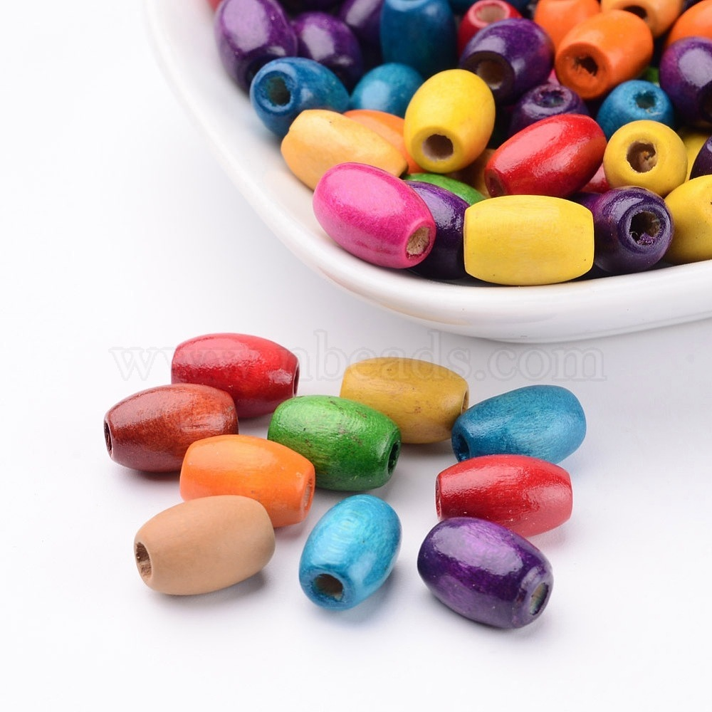 100 OVAL WOOD BEADS ASSORTED PATTERNS 15MM
