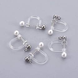 Plastic Clip-on Earring Findings, with Shell Pearl and 316 Stainless Steel Findings, Stainless Steel Color, 17.5x11.5x3mm, Hole: 1.1mm(X-STAS-P221-24P)