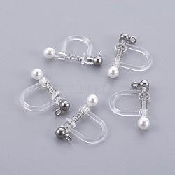 Bagues d'oreilles unies en plastique, avec coquille perle et 316 accessoires en acier inoxydable, couleur inoxydable, 17.5x11.5x3mm, Trou: 1.1mm(X-STAS-P221-24P)