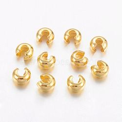 Brass Crimp Beads Covers, Nickel Free, Golden Color, Size: About 5mm In Diameter, Hole: 1.5~1.8mm(X-KK-H291-NFG-NF)