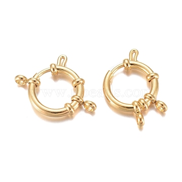 304 Stainless Steel Spring Ring Clasps, Ring, Real 24K Gold Plated, 16x4mm, Hole: 2.5mm(X-STAS-G190-17G-A)