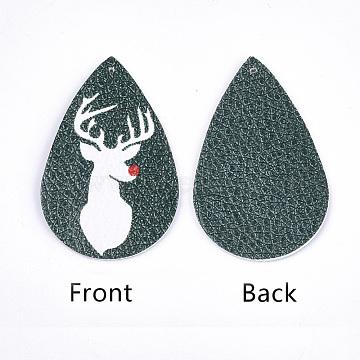 PU Leather Big Pendants, Christmas Theme, Teardrop, DarkGreen, 56x37x1.5mm, Hole: 1.2mm(X-FIND-S311-002E)