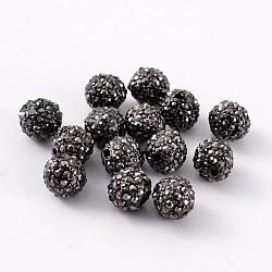 Perles d'alliage métallique, avec des strass, jet hématite, gunmetal, 8mm, Trou: 2mm(X-ALRI-B063-4)