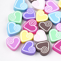 main en pate polymère cabochons, cœur, couleur mélangée, 14~15x14~15x5 mm(X-CLAY-T013-07)