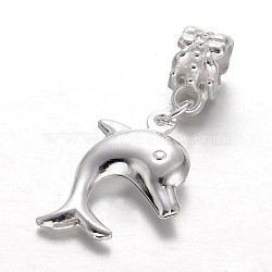 Perles européennes de pendentif en alliage , grosses perles trou de dauphins, argenterie, 33mm, Trou: 5mm(MPDL-E045-01)