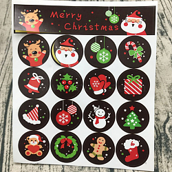Autocollants de scellement, étiquette autocollant photo autocollants, thème de Noël dessin animé, couleur mixte, 30mm; 16pcs / feuille(AJEW-L062-05)