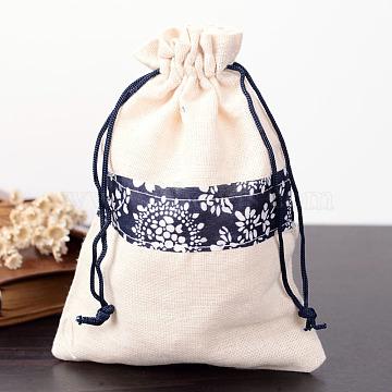 Rectangle Cloth Bags, with Drawstring, Light Yellow, 17.5x12.5cm(X-ABAG-R008-18x13-01)