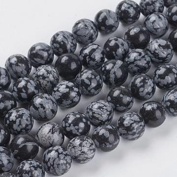 10mm Black Round Snowflake Obsidian Beads