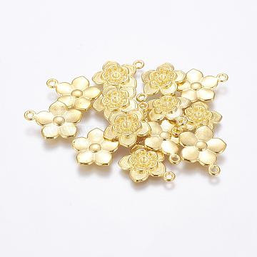 Tibetan Style Flower Pendant Rhinestone Settings, Golden, Lead Free & Cadmium Free, 20x17x3mm, Hole: 2mm(X-EAAA008Y-G)