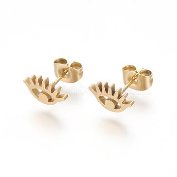 304 Stainless Steel Stud Earrings, Evil Eye, Golden, 7x10mm; Pin: 1mm(X-EJEW-L227-047G)