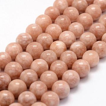 8mm Coral Round Sunstone Beads