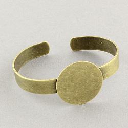 Латунные манжеты браслет материалы, браслет заготовки, античная бронза, 56 мм; плоские круглые: 25 мм(MAK-S001-SZ031AB)
