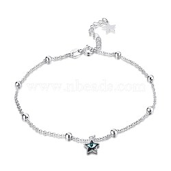 Trendy 925 Sterling Silver Charm Anklets, with Austrian Crystal, Star, Silver, 202_Aquamarine, 9inches(230mm)(AJEW-BB30911)