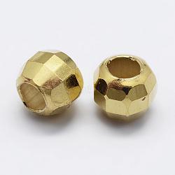 925 perles en argent sterling spacer, facettes, arrondir, or, 6x5 mm, trou: 3 mm(STER-K167-017E-G)