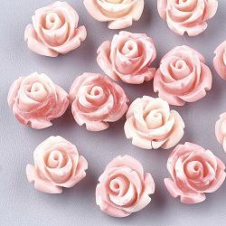 Perles de corail synthétiques, teint, fleur, corail clair, 10x10.5x8mm, Trou: 1mm(X-CORA-S026-22B)