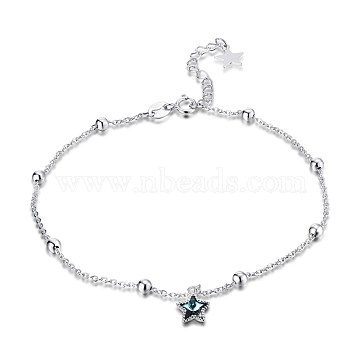 Trendy 925 Sterling Silver Charm Anklets, with Austrian Crystal, Star, Silver, 202_Aquamarine, 9 inches(230mm)(AJEW-BB30911)