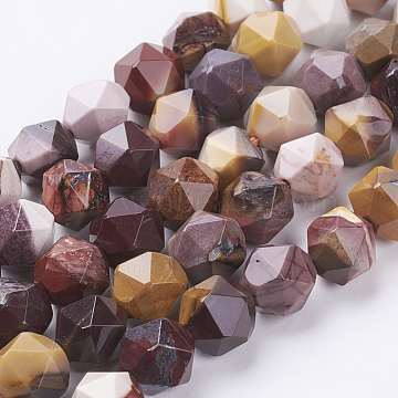 Natural Mookaite Beads Strands, Faceted, Round, 10x9mm, Hole: 1.2mm; about 38pcs/strand, 15.3inches(39cm)(G-J376-53A-10mm)