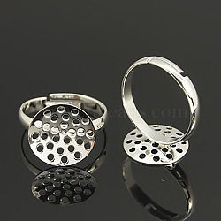 Adjustable 14mm Silver Color Plated Brass Sieve Ring Bases, Lead Free, Cadmium Free and Nickel Free, Adjustable, Size: Ring: 17mm inner diameter, 3mm wide, Round Tray, 14mm in diameter(X-EC163-1S)