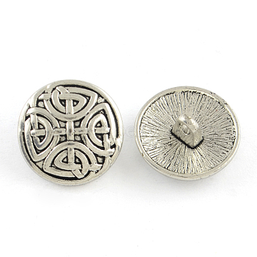 Tibetan Style Half Round Alloy Shank Buttons, Cadmium Free & Lead Free, Antique Silver, 17x7.5mm, Hole: 2mm; about 403pcs/1000g(TIBE-Q044-05AS-RS)