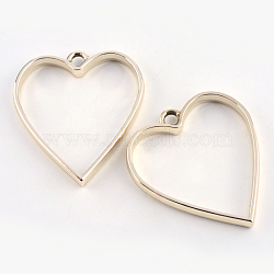 Enrubanneuse en alliage coeur ouvert en arrière lunette pendentifs, pour diy uv résine, une résine époxy, Bijoux à fleurs pressées, sans plomb et sans nickel, or, 34x30.2x3.7 mm, trou: 3 mm(PALLOY-S047-12E-FF)