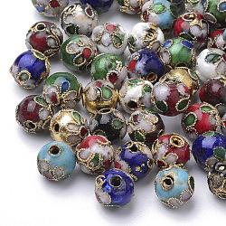 Perles en cloisonné Manuelles, rond, couleur mixte, 8mm ronde (+ - 0.5~1mm), trou: environ 2 mm(CLB8mm-M)