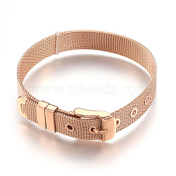 """304 bracelets de montres en inox, montre de la ceinture s'adapte breloques de glissière, rose plaqué or, 8-1/2"""" (21.5cm); 10mm(WACH-P015-02RG)"""