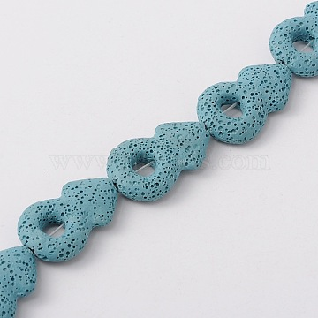 Synthetic Lava Rock Bead Strands, Male Gender Sign/Mars, Dyed, Light Blue, 34x22x8mm, Hole: 1mm; about 12pcs/strand, 15.7 inches(G-N0093-14)