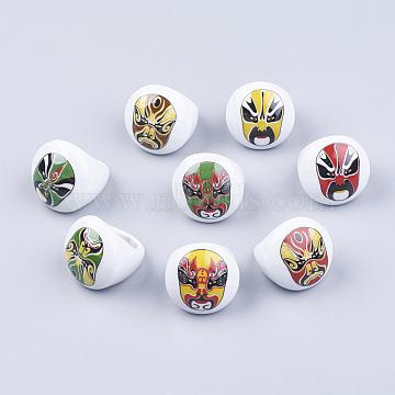Handmade Porcelain Rings, Peking Opera Make-ups Rings, Mixed Color, Size: about 16~19mm inner diameter(RJEW-16D-1)