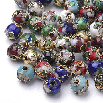 Handmade Cloisonne Beads, Round, Mixed Color, Round 8mm(+-0.5~1mm), hole: about 2mm(CLB8mm-M)