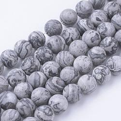 Chapelets de perles en pierre de carte/pierre picasso/picasso jasper naturelles , mat, rond, 8~8.5mm, trou: 1mm; environ 45~47 pcs/chapelet, 14.9'' (38 cm)(G-G735-27F-8mm)