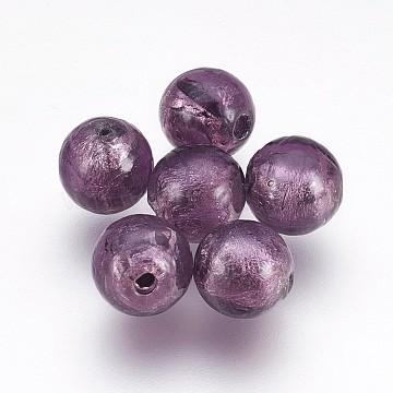 10mm MediumSlateBlue Round Silver Foil Beads